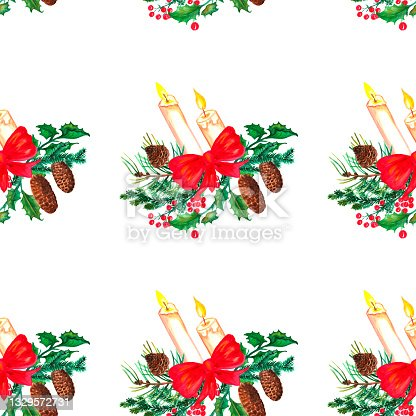 istock Watercolor pattern, seamless paper, gift wrapping, gifts, winter hare background, Christmas trees.Festive, candle, lantern, spruce. 1329572731