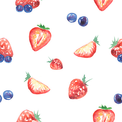 watercolor pattern strawberry blueberry on white background