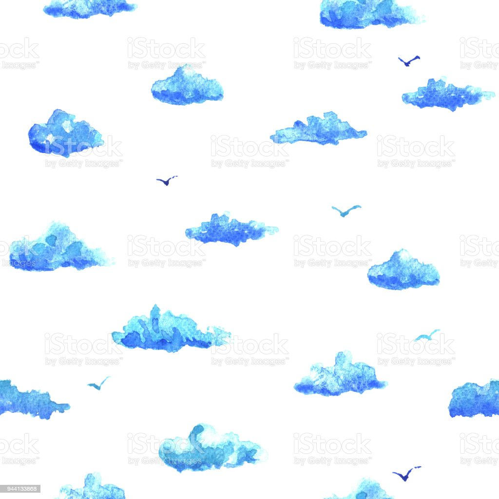Watercolor pattern with clouds vector art illustration