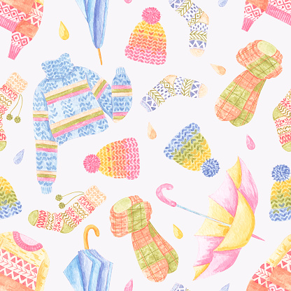 Watercolor pattern with cozy autumn elements, like umbrella, socks, sweater and other. Collection of elements for party, fall festival or Thanksgiving day.