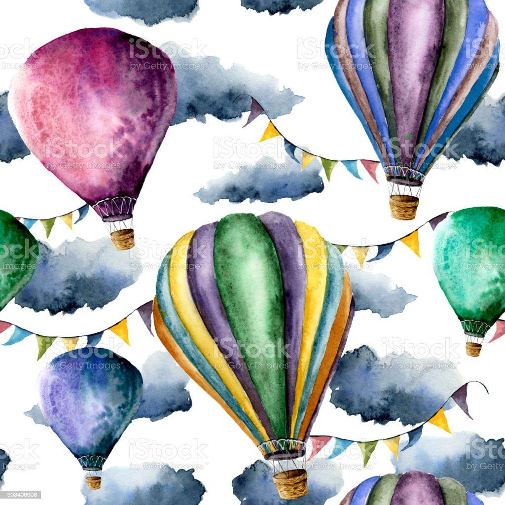 Sulu Boya Desen Sicak Hava Balonlari Ve Bulutlar El Hava Balonlari