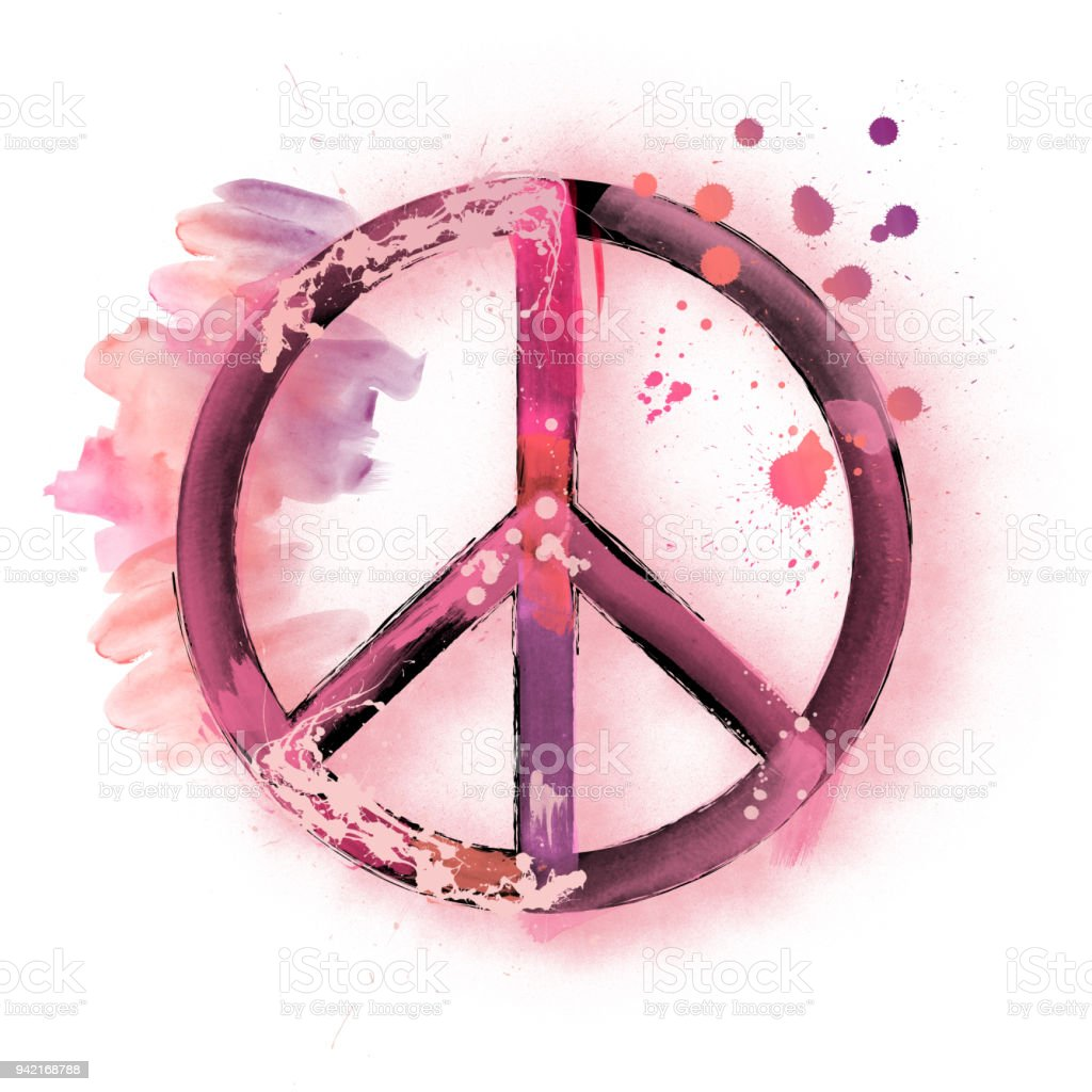 Watercolor Peace Sign Symbol Illustration Painting Stock Vector Art