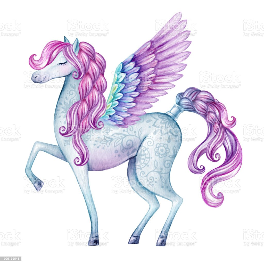 watercolor pegasus illustration fairy tale creature flying white stallion clipart stallion clipart free