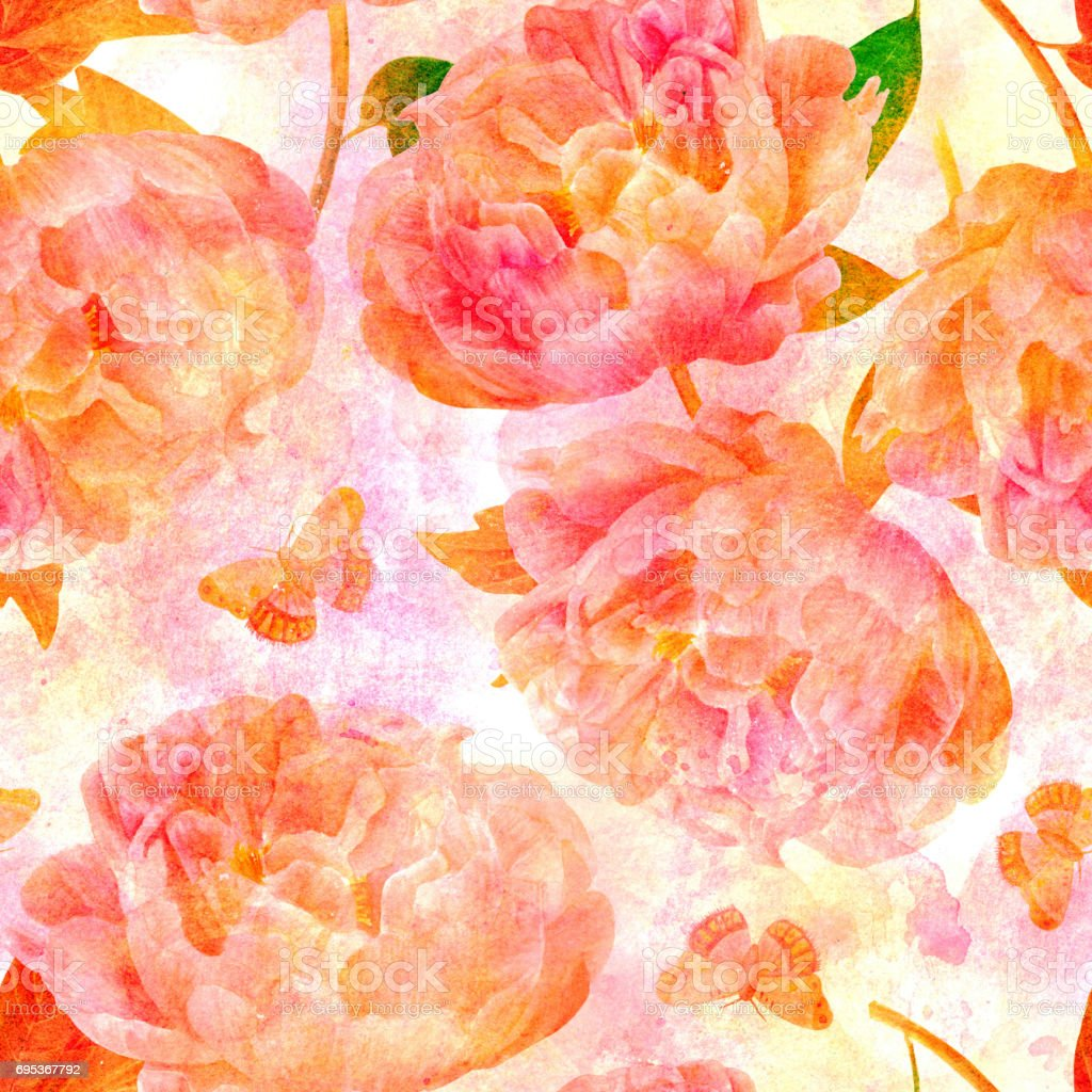 Watercolor peonies seamless pattern, golden and pink vector art illustration