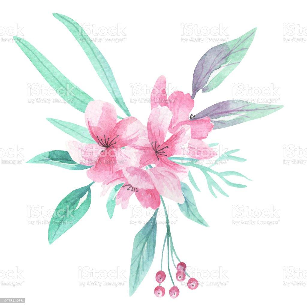 Sulu Boya Pembe Aqua çiçekler çiçek çiçek Buketi Stok Vektör Sanatı