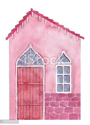 istock Watercolor pink cartoon house with wooden door and tiled roof 1305923026