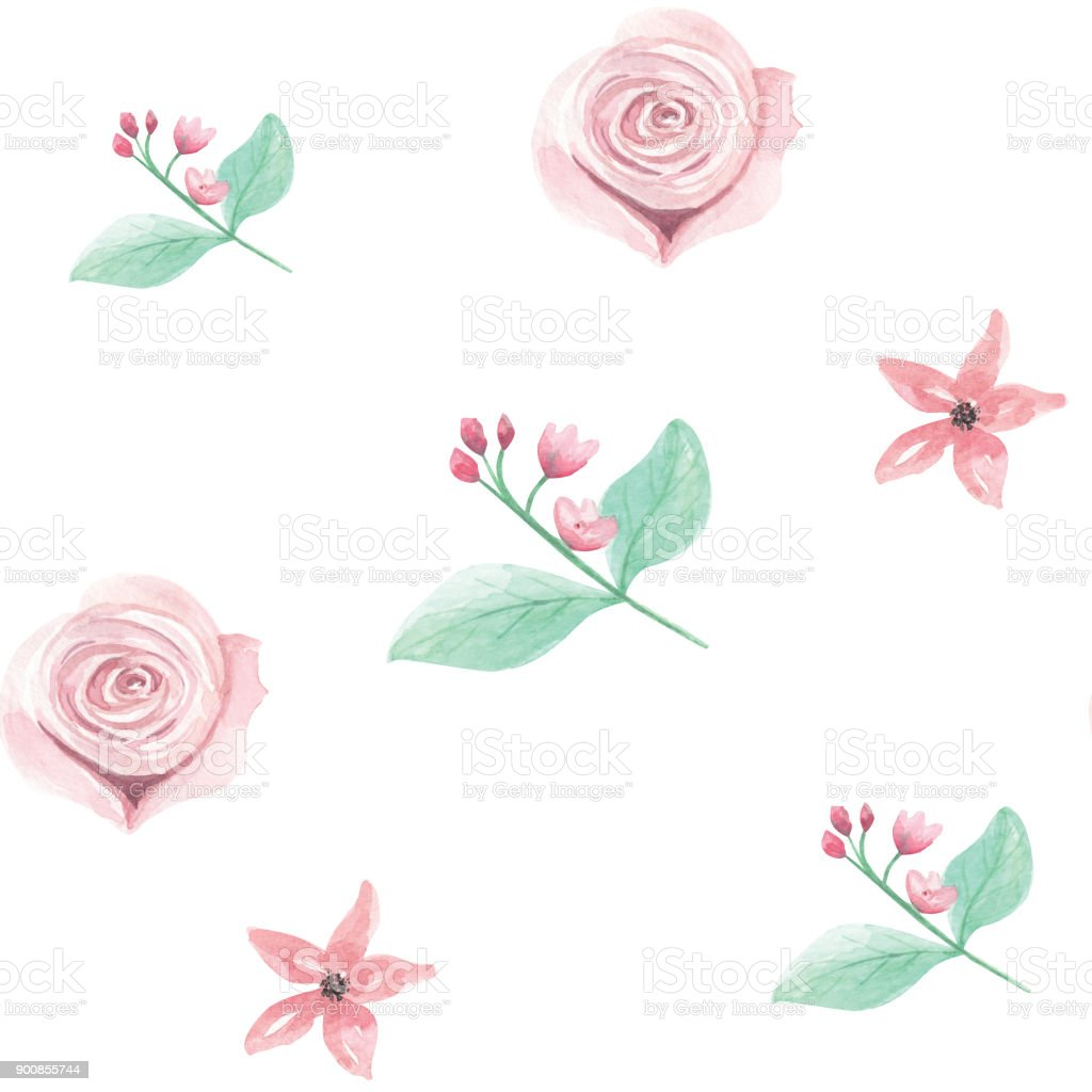 Watercolor Pink Floral Seamless Patterns Spring Summer Wedding