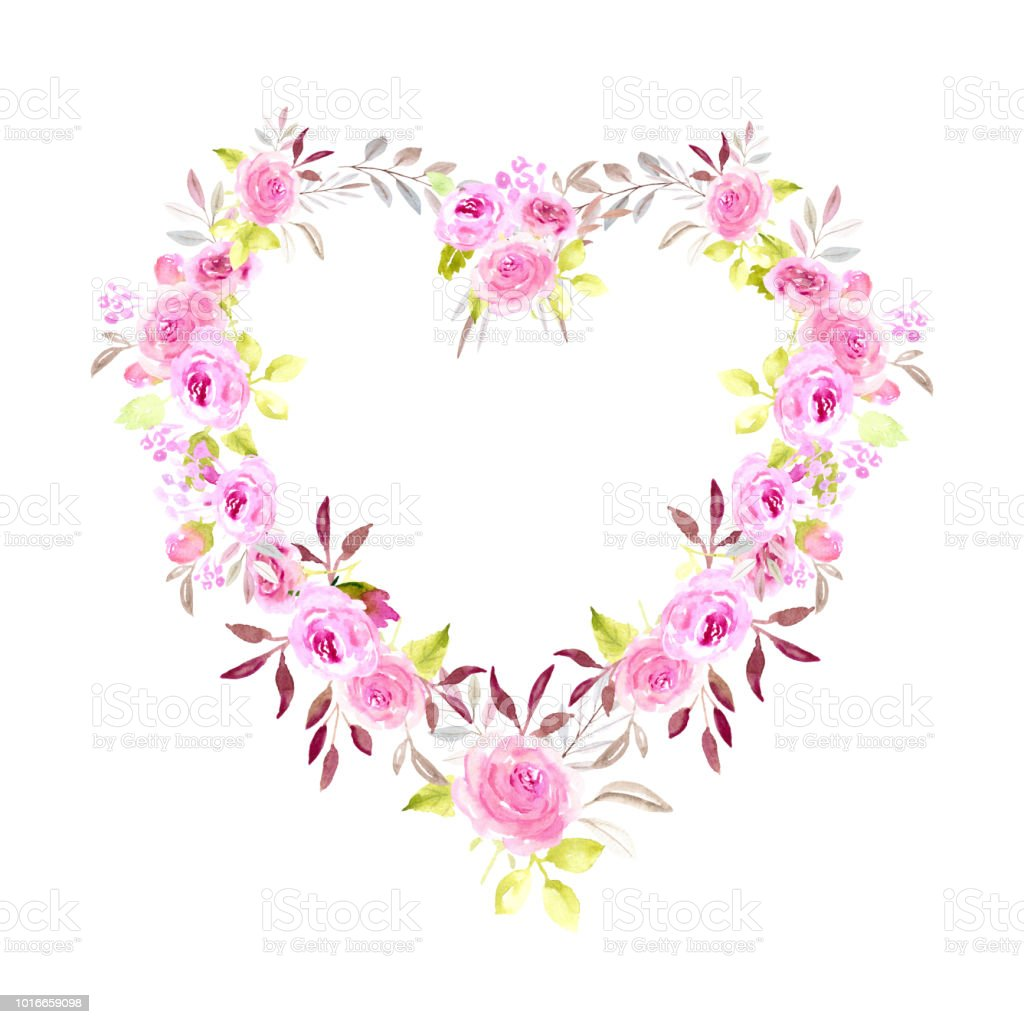 Watercolor pink flower heart frame stock vector art more images of watercolor pink flower heart frame royalty free watercolor pink flower heart frame stock vector mightylinksfo