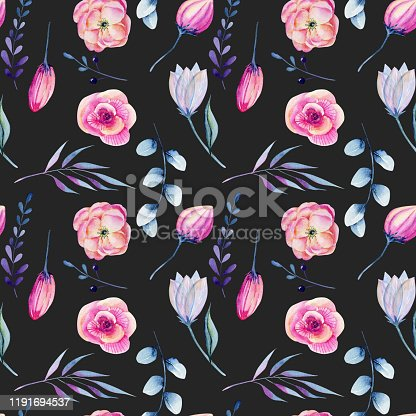Watercolor pink peonies and blue branches seamless pattern, hand drawn on a dark background