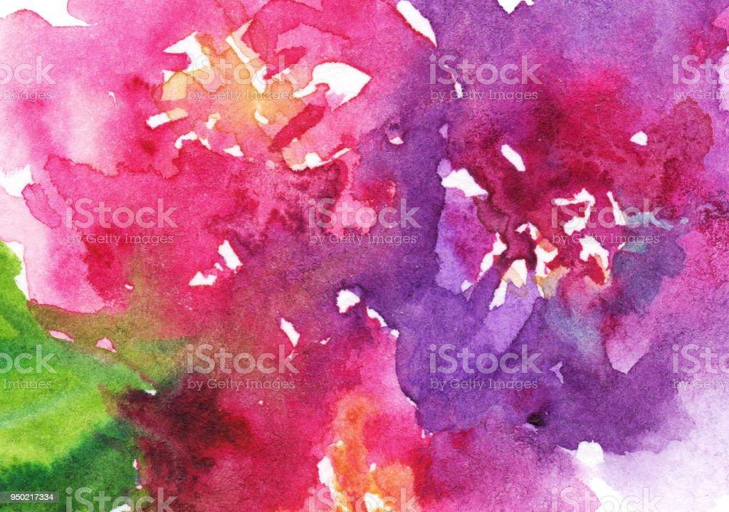 Watercolor pink purple flower floral peony rose carnation leaf composition art illustration texture backdrop background vector art illustration
