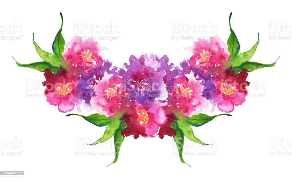 Watercolor pink purple flower floral peony rose carnation leaf boutonniere composition frame isolated art illustration vector art illustration