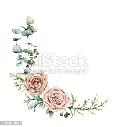 Watercolor pink roses and eucalyptus wreath. Hand painted floral vintage flowers, seeds, juniper and lambs ears isolated on white background. Botanical illustration for design, print or background