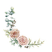 istock Watercolor pink roses and eucalyptus wreath. Hand painted floral vintage flowers, seeds, juniper and lambs ears isolated on white background. Botanical illustration for design, print or background. 1183079674