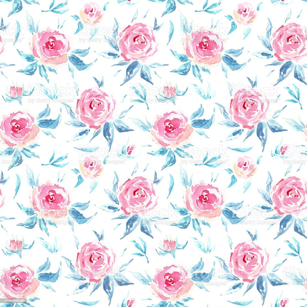 Watercolor Pink Roses With Blue Leaves Vintage Floral Background