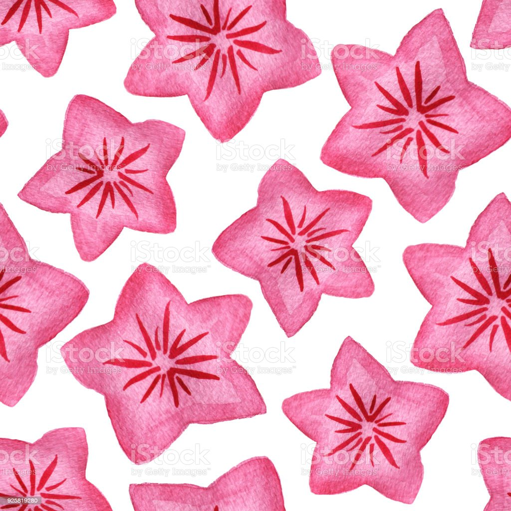 Watercolor Pink Star Shaped Flowers Seamless Pattern Background