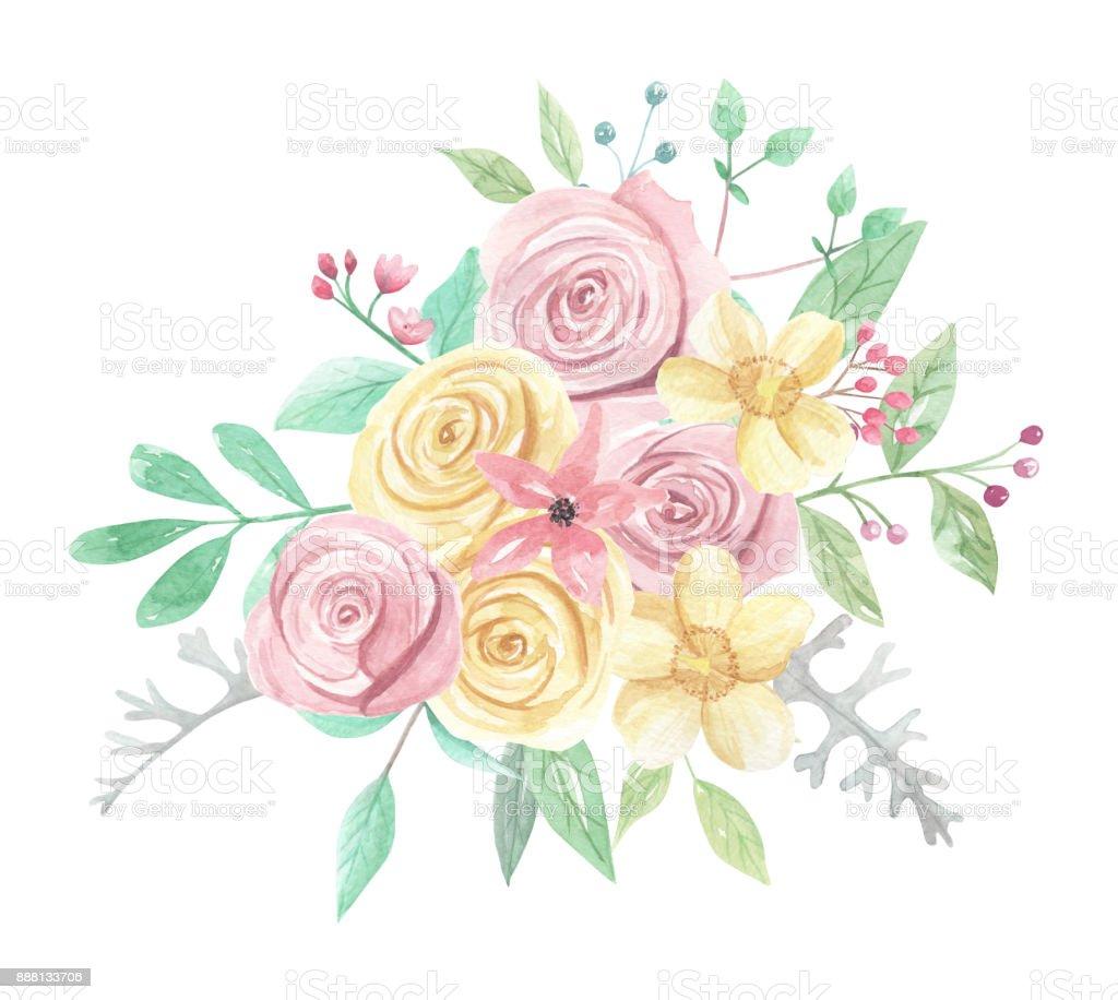 Aquarell Rosa Gelb Rosen Beeren Blumen Fruhling Sommer Hochzeit