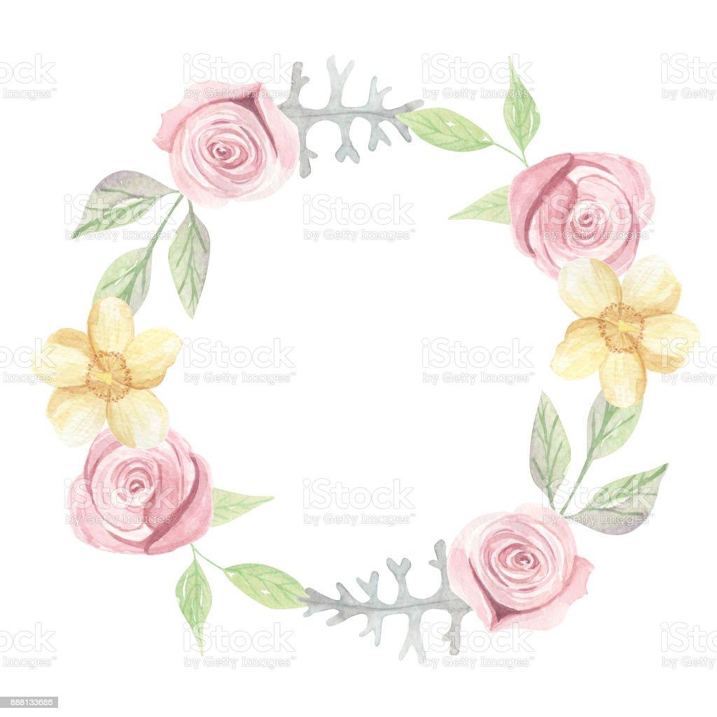 d1c2219555f3 Akvarell rosa gula rosor sommar bröllop blommig krans krans royaltyfri  akvarell rosa gula rosor sommar bröllop