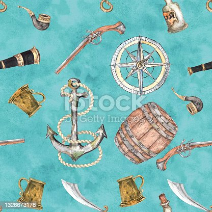 istock Watercolor Pirate adventure colorful objects seamless pattern 1326673178