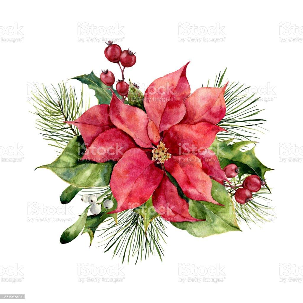 Bouquet De Noel Avec Du Houx poinsettia aquarelle avec décor floral de noël peint À la