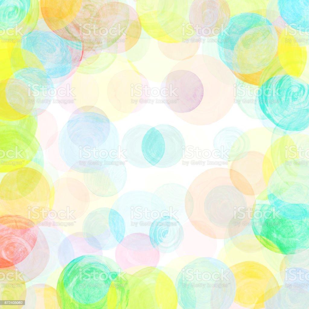 水彩の水玉柄カラフルなサークル...