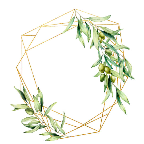 Watercolor polygonal golden frame with olive tree branch, green olives and leaves. Hand drawn floral label isolated on white background. Botanical illustration. Greeting template for design. Watercolor polygonal golden frame with olive tree branch, green olives and leaves. Hand drawn floral label isolated on white background. Botanical illustration. Greeting template for design olive branch stock illustrations