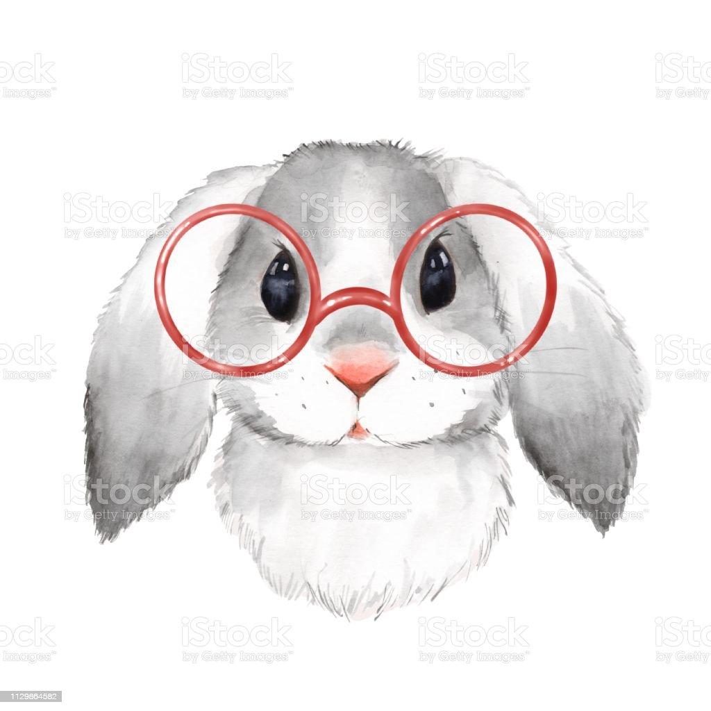 Watercolor Portrait Cute Rabbit With Glasses Stock