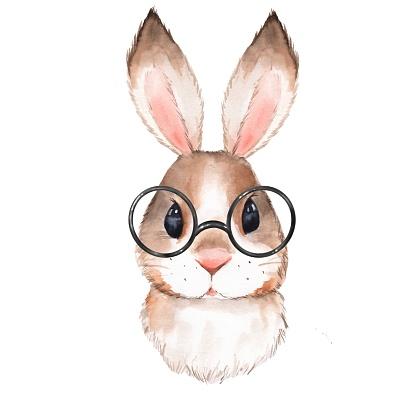 Watercolor portrait cute rabbit with glasses