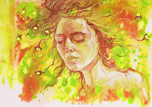 Watercolor portrait of a fashionable illustration of a sleeping girl