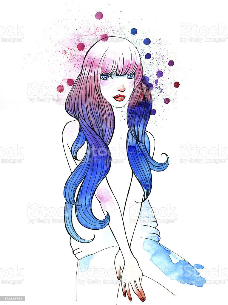 Watercolor Portrait of Beautiful Girl royalty-free watercolor portrait of beautiful girl stock vector art & more images of abstract
