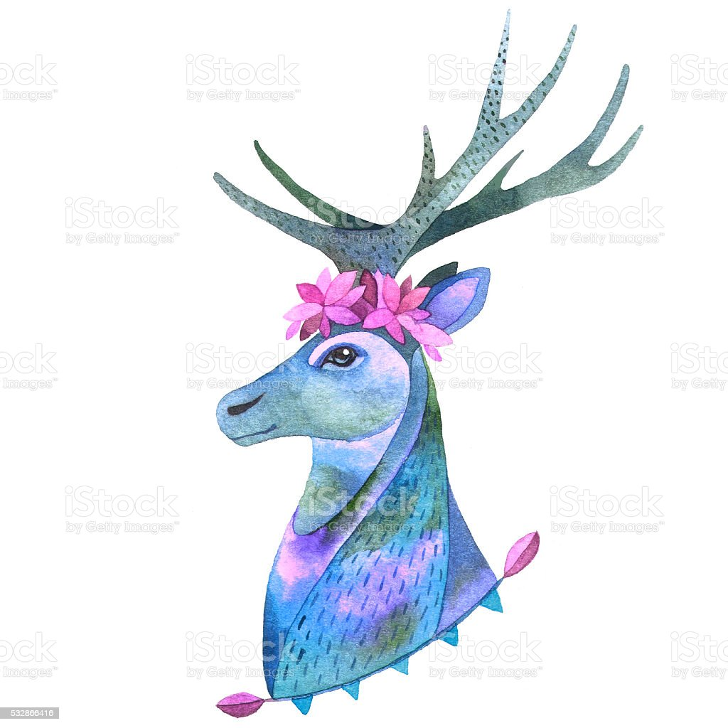 watercolor portrait of forest deer stock illustration download image now istock 2