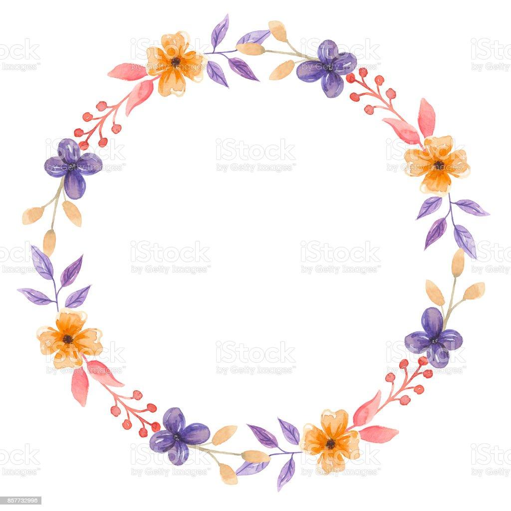Watercolor Pretty Flower Wedding Floral Wreath Garland Stock Vector