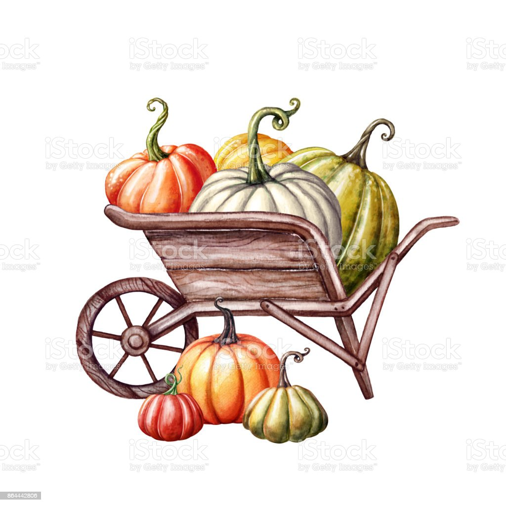 watercolor pumpkins in the wheelbarrow thanksgiving farm harvest rh istockphoto com  fall leaves background clipart