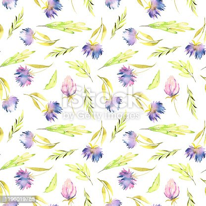 istock Watercolor purple asters and green leaves seamless pattern, hand painted on a white background 1196019788