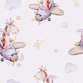 istock Watercolor purple illustration of a cute animal safary giraffe and fancy sky scene complete with airplanes and balloons, clouds. Baby Boy and girl pattern. baby shower 1288967494