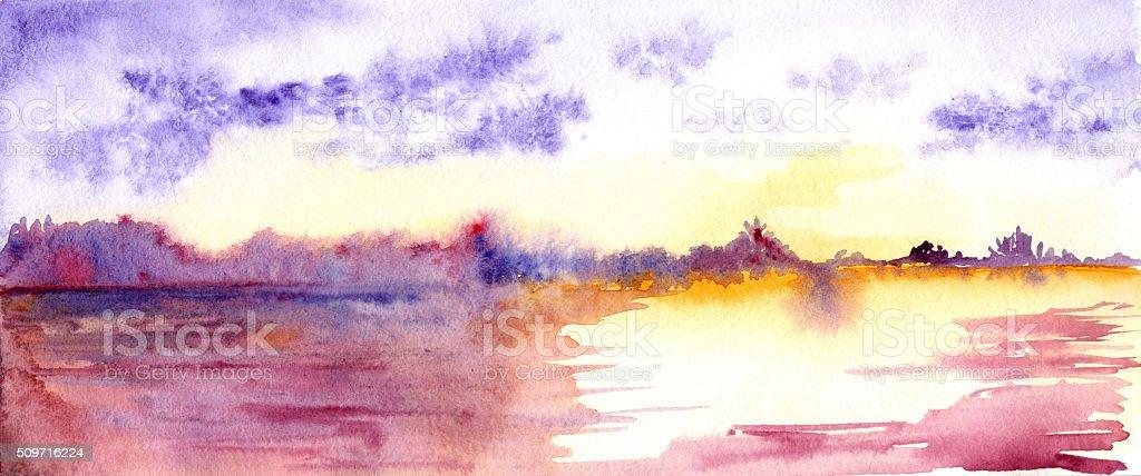 Watercolor purple sunset sunrise river lake landscape vector art illustration