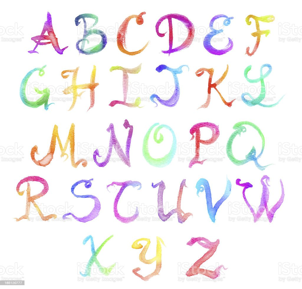 Watercolor Rainbow Alphabet with Fancy Lettering royalty-free stock vector art