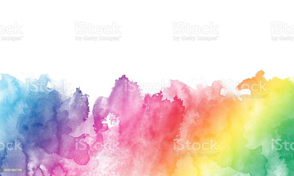 Watercolor rainbow border vector art illustration