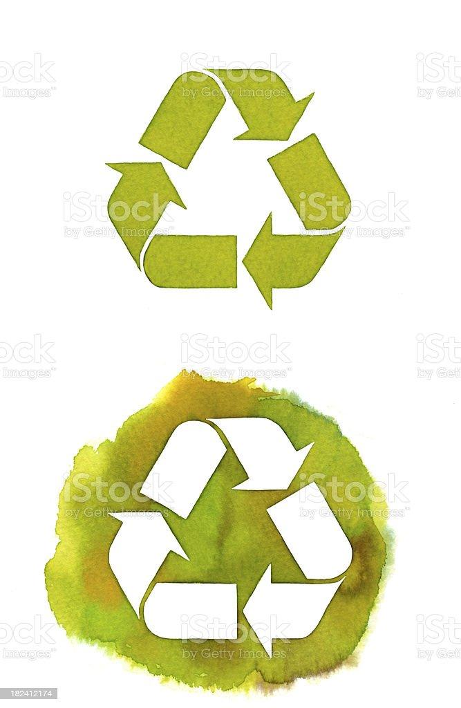 Watercolor recycle vector art illustration