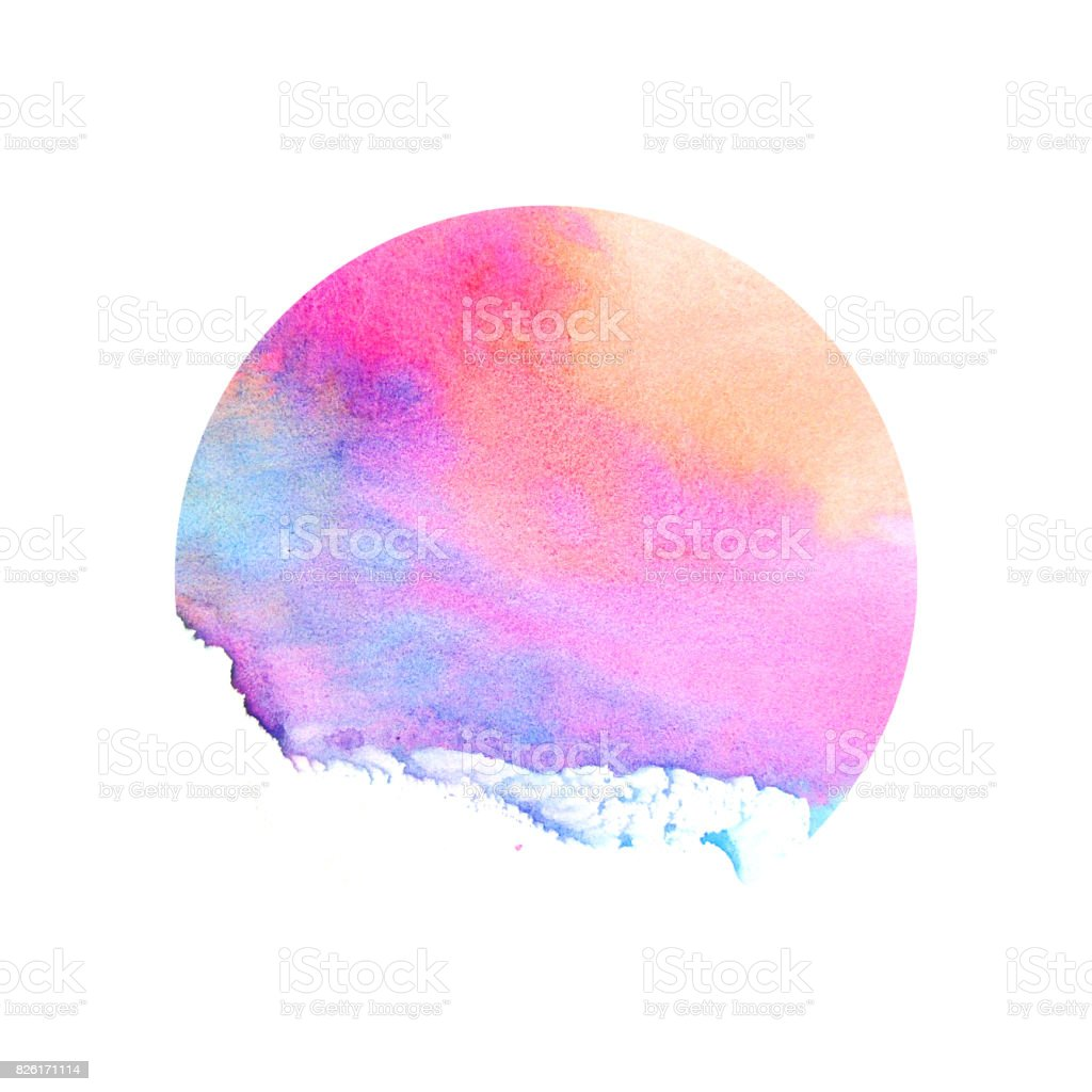 Watercolor red and blue circle. vector art illustration