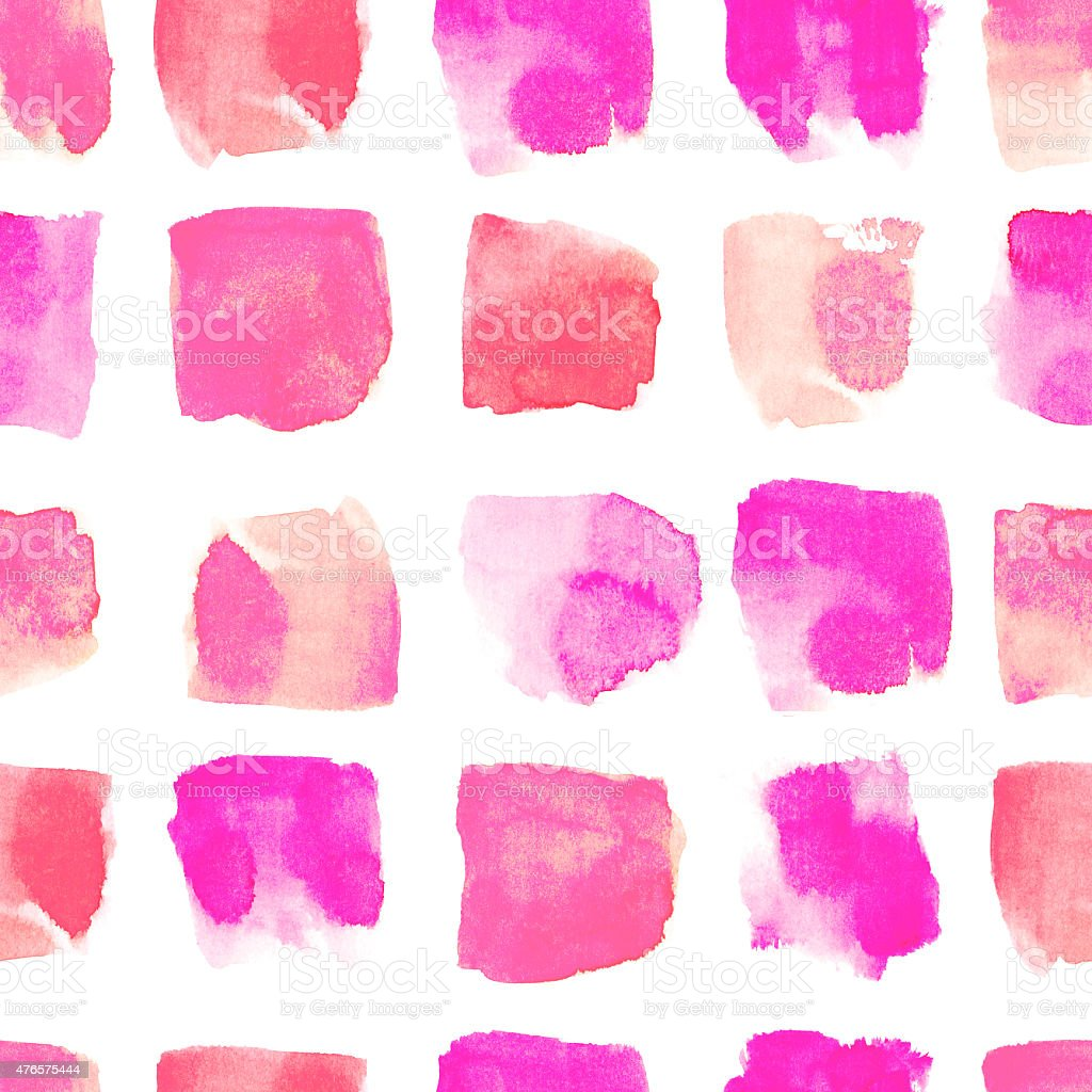 Watercolor red and pink stain seamless pattern vector art illustration