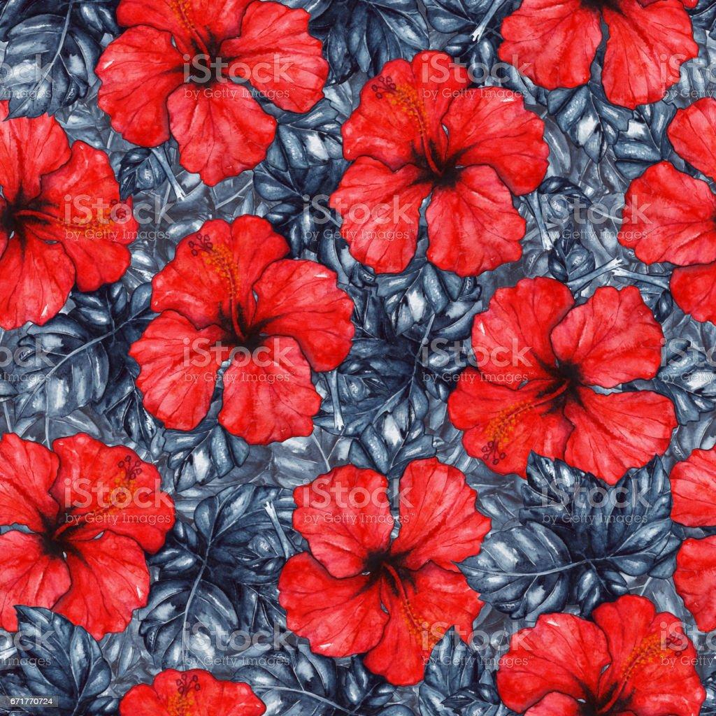 Watercolor red hibiscus karkade tropical exotic flower plant watercolor red hibiscus karkade tropical exotic flower plant seamless pattern royalty free watercolor red hibiscus izmirmasajfo Images