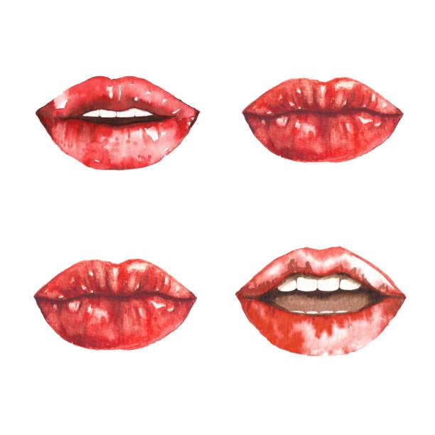 illustrazioni stock, clip art, cartoni animati e icone di tendenza di watercolor red lips with open mouth talking sequence - smile woman open mouth