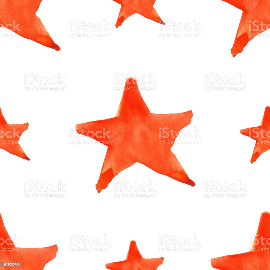 Watercolor Red Orange Five Pointed Star Symbol Seamless Pattern