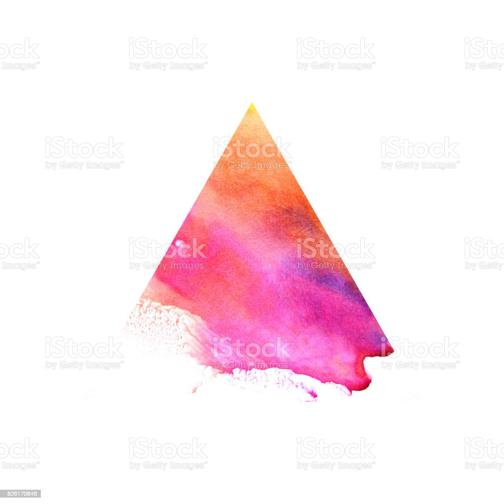 Watercolor red triangle. vector art illustration