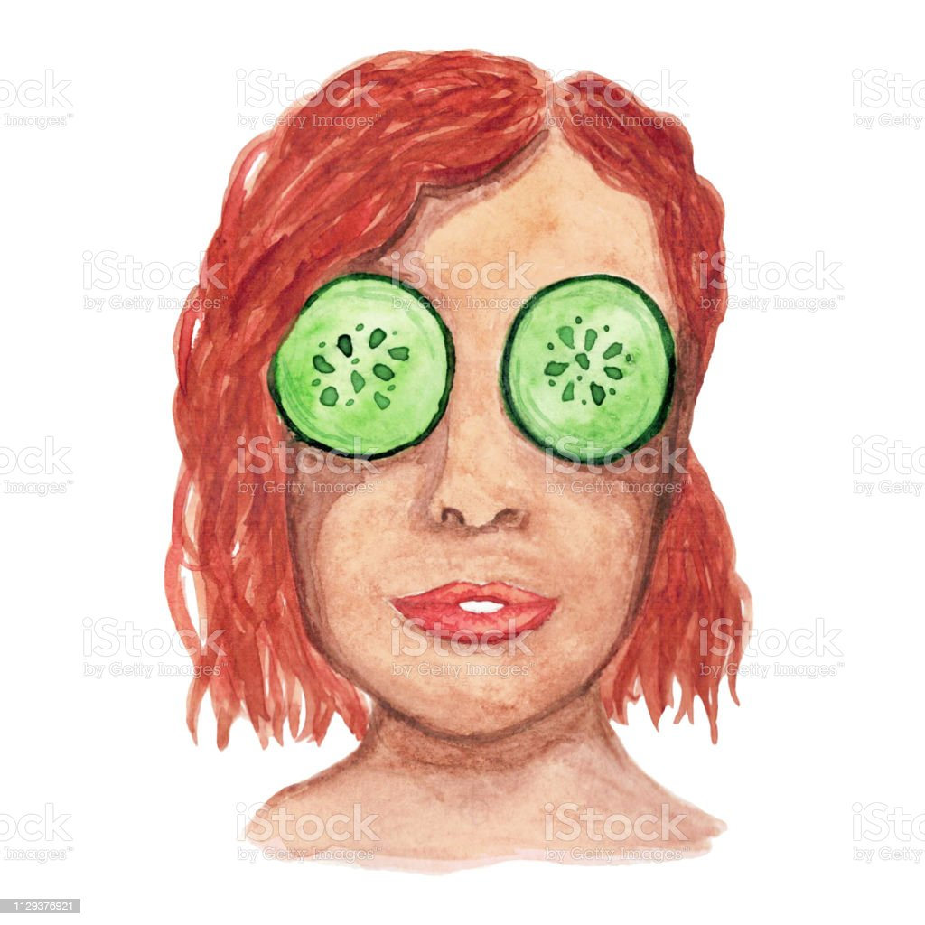 Watercolor Redhaired Girl With A Mask Of Cucumbers In Her