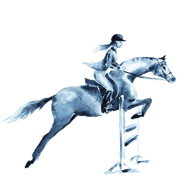 bildbanksillustrationer, clip art samt tecknat material och ikoner med watercolor rider girl and horse, jumping a hurdle on white - tonåring häst