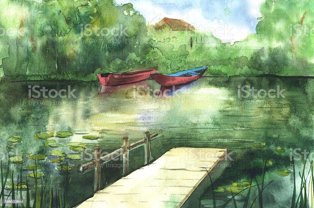 Watercolor river landscape watercolor river landscape – cliparts vectoriels et plus d'images de aquarelle libre de droits
