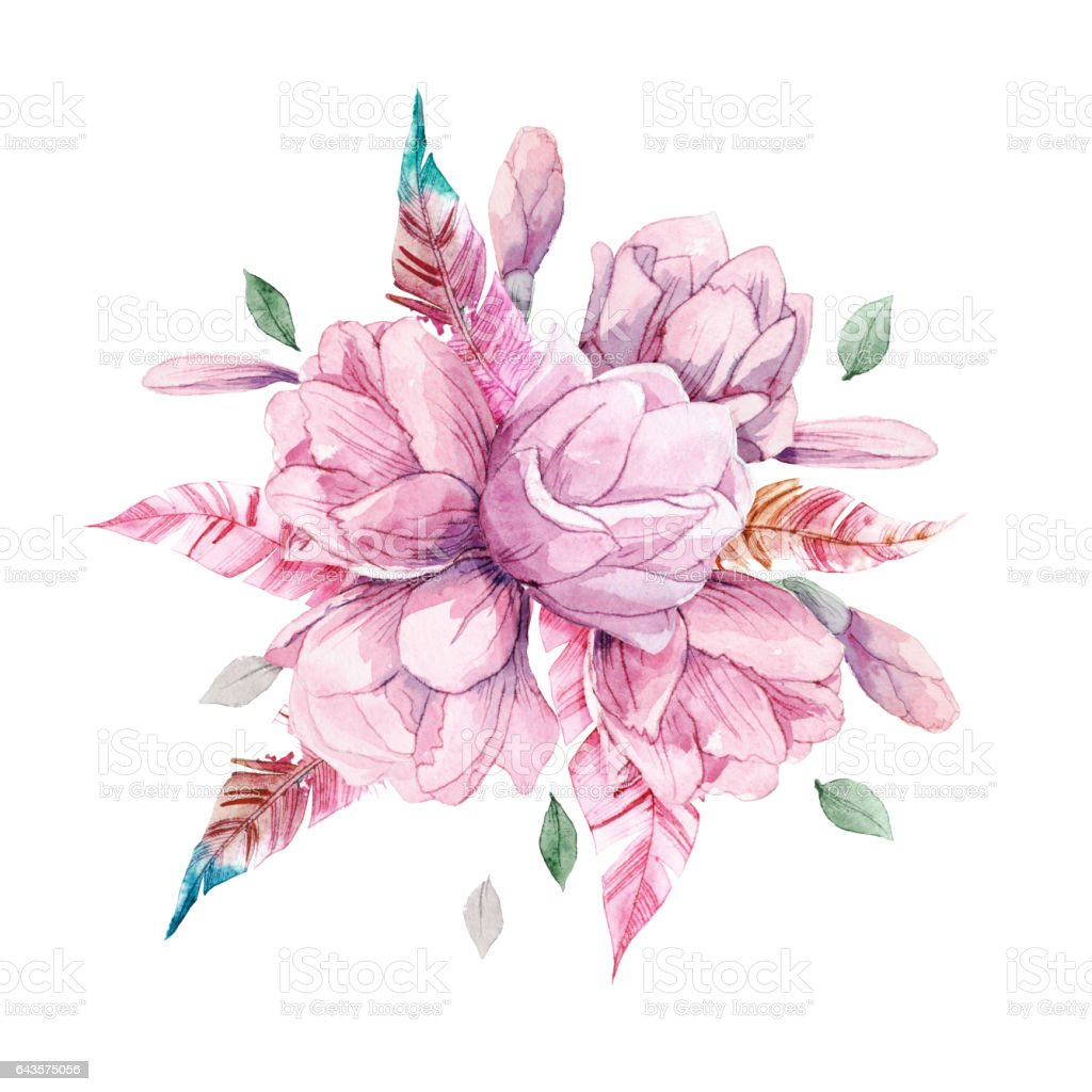 Watercolor Romantic Bouquet Of Red Peonies Roses Isolated On White