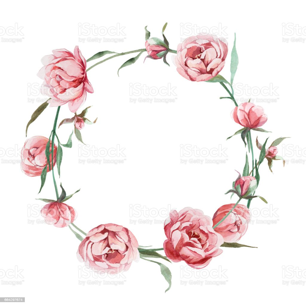 Watercolor Romantic Wreath Of Rose Peony Flower Isolated On White