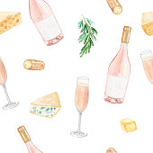 istock watercolor rose wine bottle and cheese seamless pattern on white background 1278240423